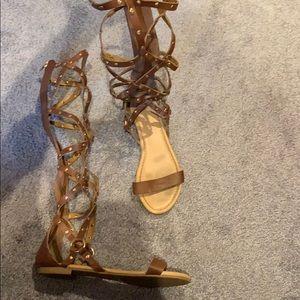 Talk brown strappy sandals